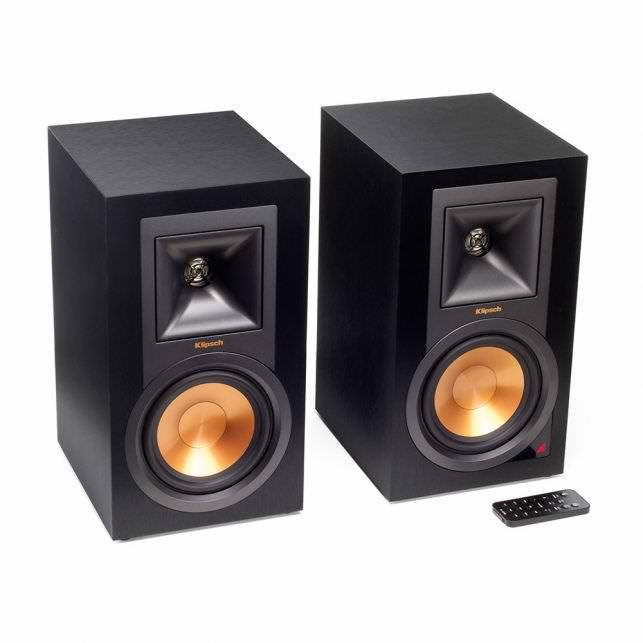 Klipsch Powered Monitor Speakers with a built-in phono preamplifier, plus the usual Bluetooth and other digital/analog inputs. http://www.klipsch.com/products/r-15pm-powered-monitors