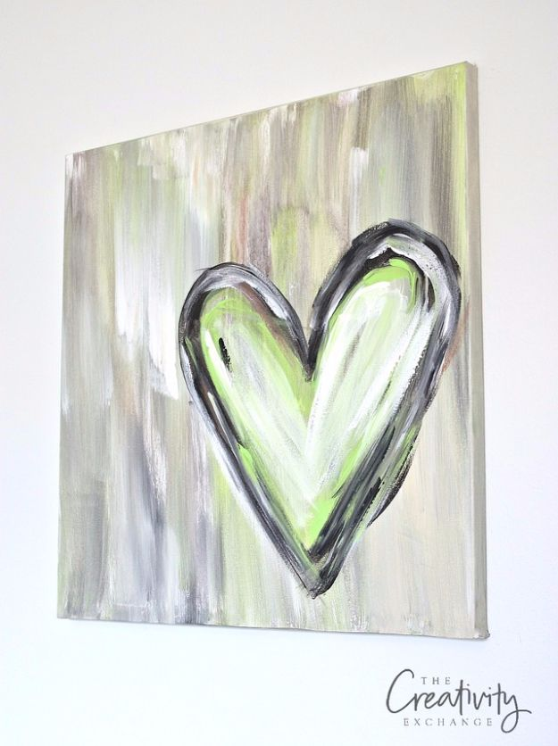DIY Canvas Painting Ideas - DIY Abstract Heart Painting - Cool and Easy Wall Art Ideas You Can Make On A Budget - Creative Arts and Crafts Ideas for Adults and Teens - Awesome Art for Living Room, Bedroom, Dorm and Apartment Decorating http://diyjoy.com/diy-canvas-painting