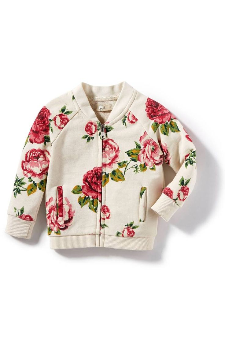 Vibrant floral patterns provide a lively update to this classic bomber jacket.