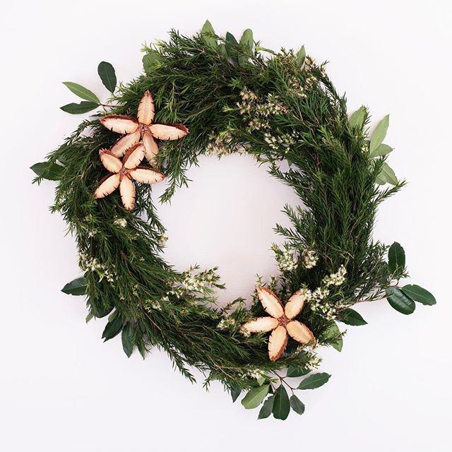 This years handmade Christmas wreath, made from beautiful homegrown Australian natives #fleurpotflowers #wreathmaking #australiannativeplants