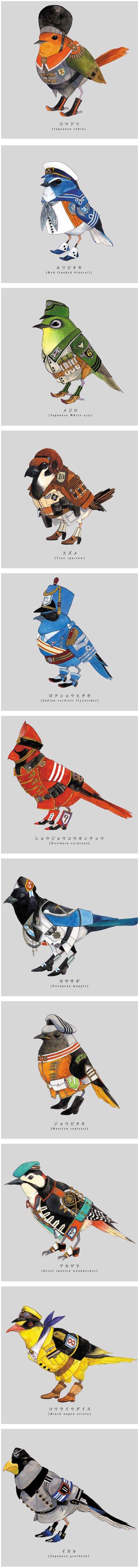 """Torigun"", birds dressed in military uniforms by Japanese artist Sato."