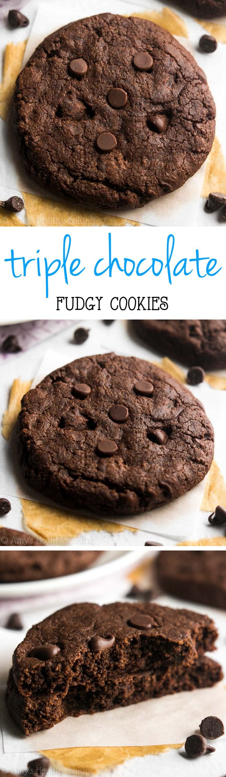 Healthy Fudgy Triple Chocolate Cookies -- only 103 calories & they taste like brownies! 3x the chocolate & NONE of the guilt!