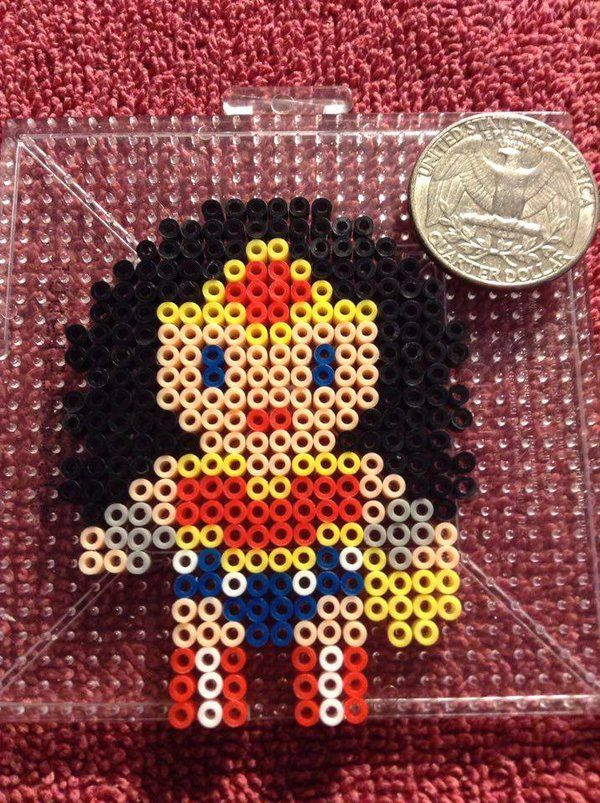 Wonder Woman perler beads by KibbesNBits
