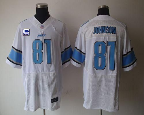 52d818c4c ... Nike Lions 81 Calvin Johnson White With C Patch Mens Embroidered NFL  Elite Jersey!