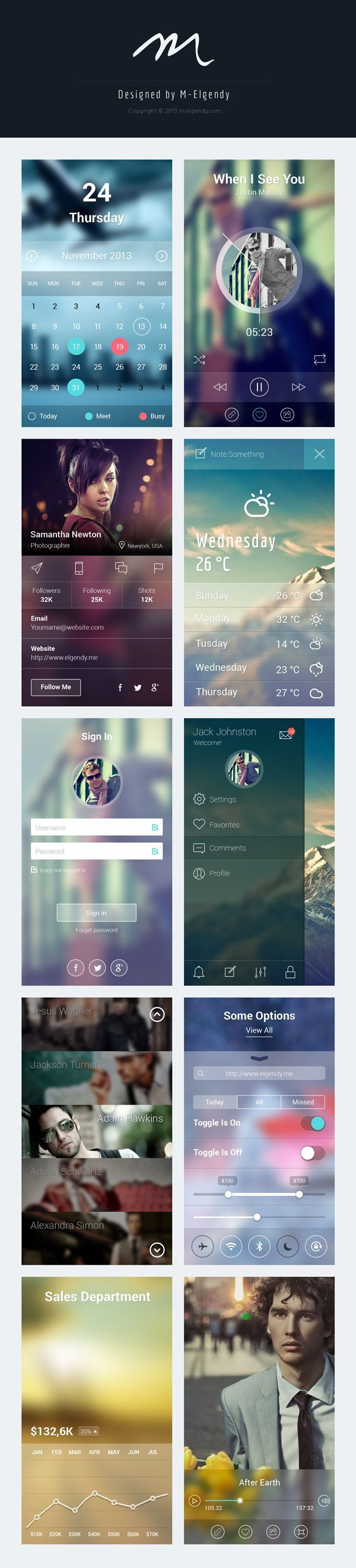 Blur app ui design - #calendar #profile #weather #signin #nav #charts