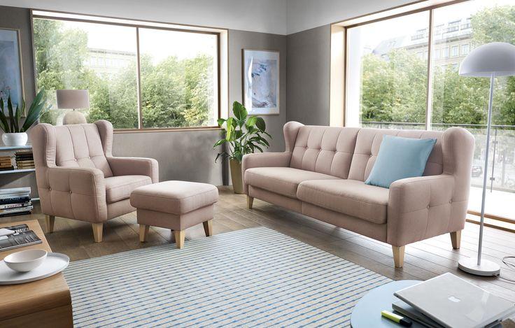"""Zestaw wypoczynkowy Arno to klasyk wśród uszaków. Miękki, sprężysty, wygodny, doskonale wyprofilowany, a przy tym bardzo klimatyczny dzięki swoim """"uszom"""". Taki zestaw to prawdziwe odświeżenie każdego salonu. #GalaCollezione #SweetSit #Arno #meble #fotel #fotele #zestawwypoczynkowy #design #inspiracje #inspiration #interiordesign #wnętrza"""