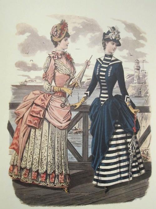 "Seaside costume from Spanish fashion plate, ""La Moda Elegante - La Elegancia,"" c.1870s/80s"