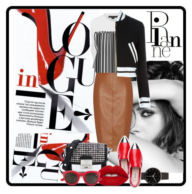 Seeing Red by bosko on Polyvore featuring polyvore, fashion, style, Alexander Wang, Moschino, Bailey 44, Karl Lagerfeld, I Love Ugly, Yves Saint Laurent, Lime Crime, Chanel, clothing, wardrobebasics and croppedbomber