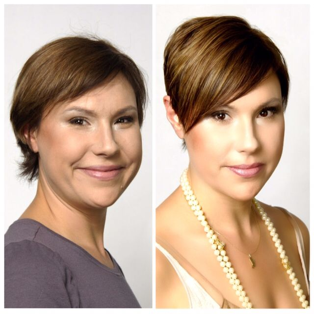 Before and after. From flat dull hair to beautiful dimensional color and a great pixie cut for fine, thin hair. Color and Cut by Mark Garrison Salon.