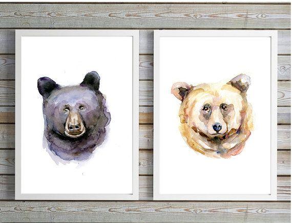 Beer portretten  aquarel schilderij   print  dier door Zendrawing