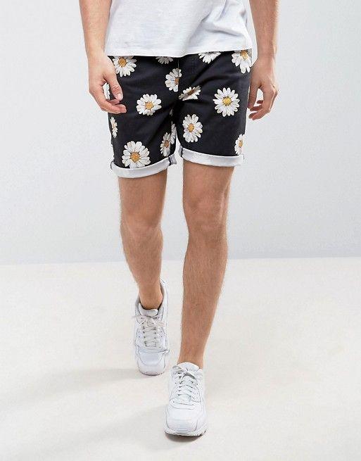 ASOS Slim Chino Shorts with Daisy Print