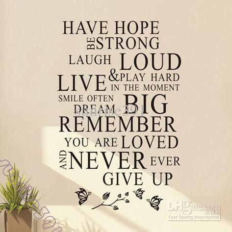 (s)038 Have Hope Quote Wall Stickers Art Quotes Sticker Decal Decals Home Decor