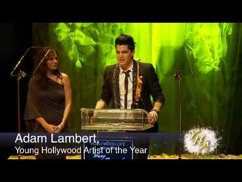 (2009) Adam Lambert's acceptance speech for the 'Young Hollywood Artist Of The Year' Award. Award presented to him by Kara DioGuardi.