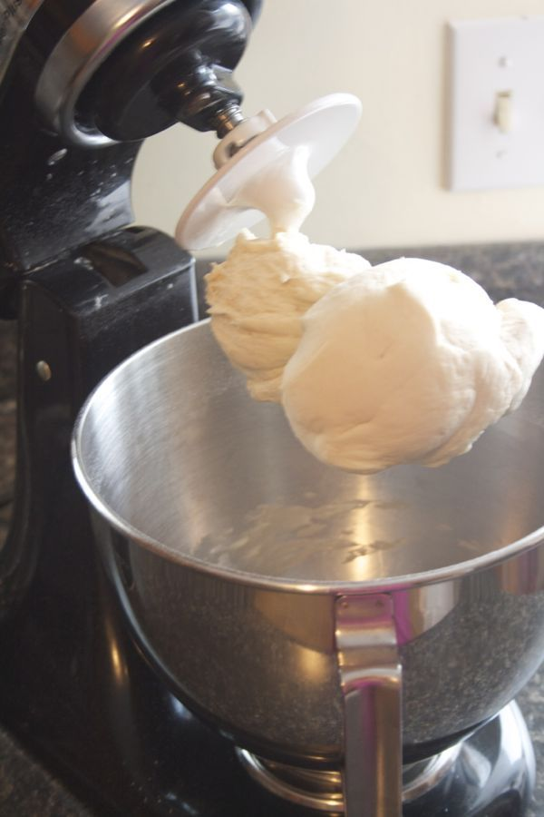 Pizza dough made in your stand mixer... versatile and perfect every time. http://mmmisformommy.com/2014/01/garlic-fingers-donair-sauce.html