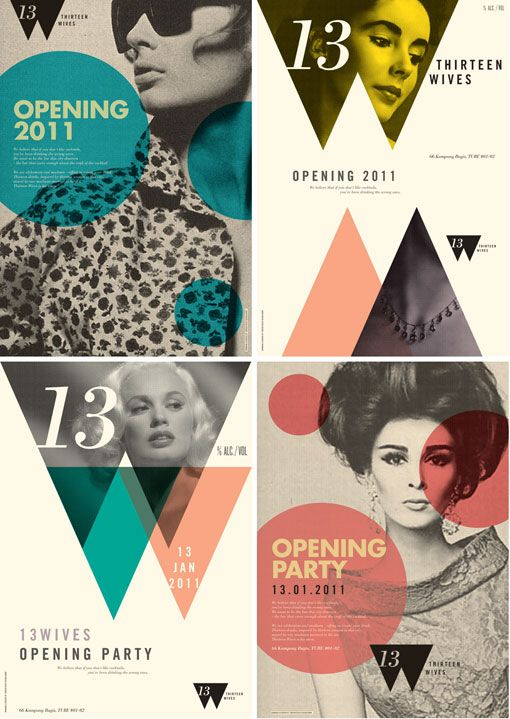 posters for the opening of 13wives a bar in Singapore designed by Foreign Policy Design Group. The name comes from a (fictional?) story of the bartender's little black book and the women he has known and loved