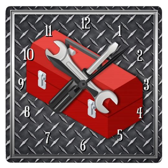 Tool Man Square Wall Clock l Round clock also available.