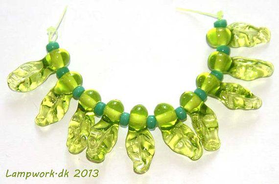 SRA handmade lampwork leaf bead set by LampworkDK on Etsy, $8.00