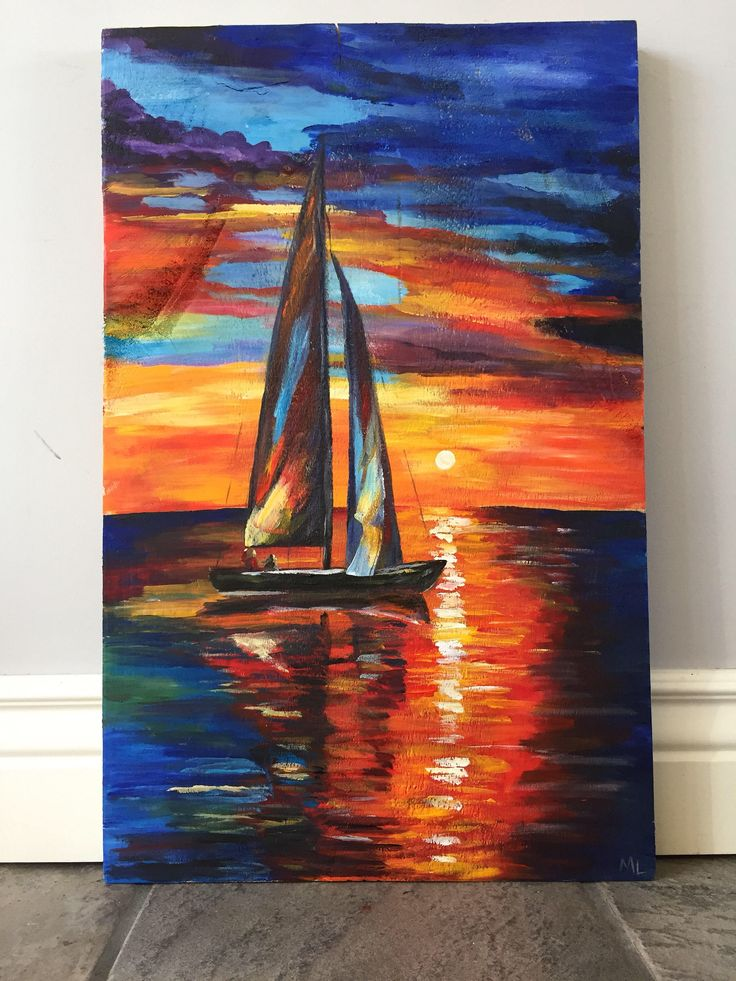 A personal favorite from my Etsy shop https://www.etsy.com/ca/listing/570992939/sunset-sailboat