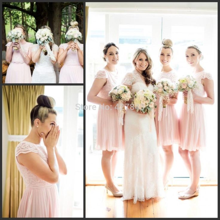 2015 Fashion Lace Blush Pink Bridesmaid Dresses Cap Sleeves Short Knee Length Chiffon Bridesmaid Gowns Maid of Honor Dresses from Queenfashion,$115.92 | DHgate.com