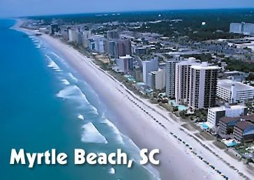 Beachfront hotels at Myrtle Beach.