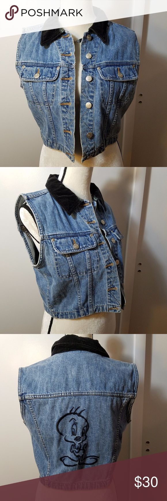 Warner Bros. Vintage 90's Tweety Bird Denim Vest Excellent pr-owned condition. No stains, damages, or wear. Each button bears the Tweety Bird logo. Official Warner Bros. Studio wear. Measurements in picture, tag says size M. Embroidered Tweety Bird picture in the back in black. Collar is velvet. Two front breast pockets. It is a short vest, ends just above the waist. Vintage piece from the 90's. Warner Brothers Jackets & Coats Vests