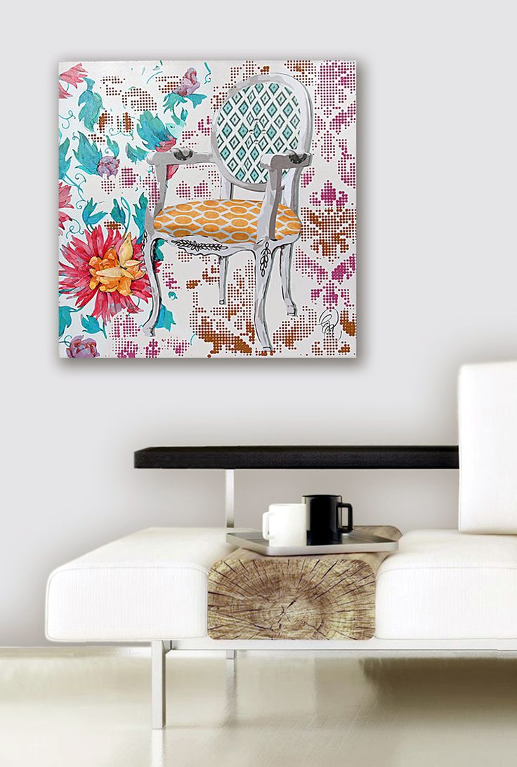 "Quadro moderno dipinto a mano su tela ""Sedia"". By Galleria Viadurini 21 [www.viadurini.it]"