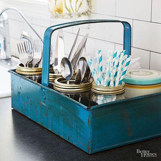 Transfer silverware from countertop to tabletop in no time with a portable basket. Organize cutlery into various jars by type, then move the entire storage unit as needed./