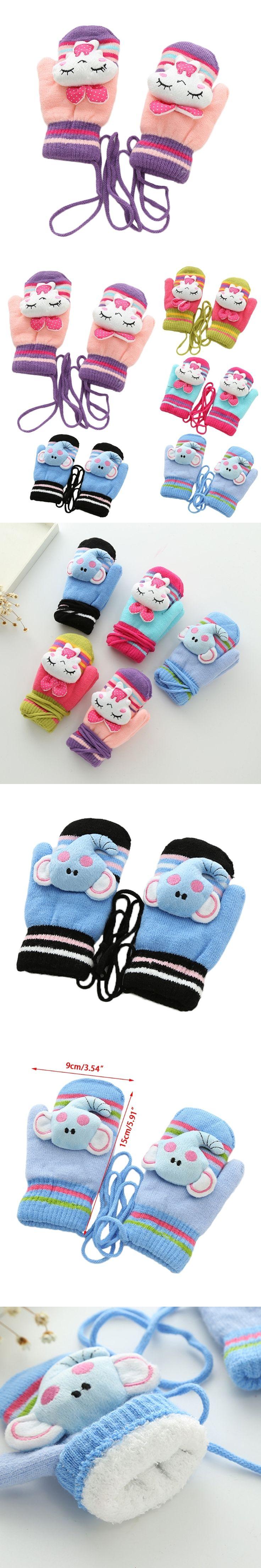 Children Cute Cartoon Kid Gloves Mittens Cold Winter Warm Knitted Velvet With Strip Acrylic Fiber Velvet wrist Gloves New Lovely