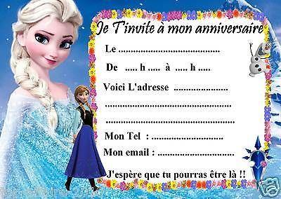 5 cartes invitation anniversaire Disney la reine des neiges 03 d'autres en vente