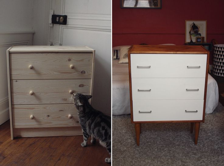 DIY - Ikea hack, fausse commode vintage pieds compas   Marg's book Ike RAST - style scandinave Mid Century modern Ikea hack