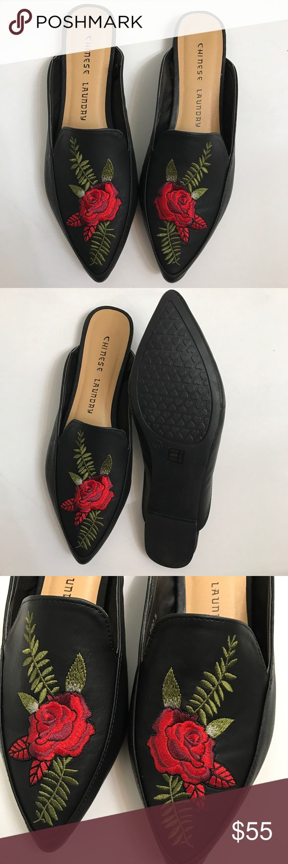 Loafers floral  Loafers mules Flowers Embroidery FancyWork Chinese Laundry New 7 size  Firm  price !!! Tags  Dolce & Gabbana  Chic shoes  Trendy  Fashion  Flowers print Chinese Laundry Shoes Mules & Clogs