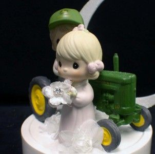 Precious Moments Country Western John DEERE Tractor Wedding Cake Topper Grren