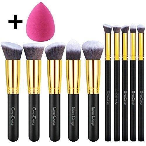 EmaxDesign 101 Pieces Makeup Brush Set 10 Pieces Professional Foundation Blending Blush Eye Face Liquid Powder Cream Cosmetics Brushes & 1 Piece Rose Red Beauty Sponge Blender