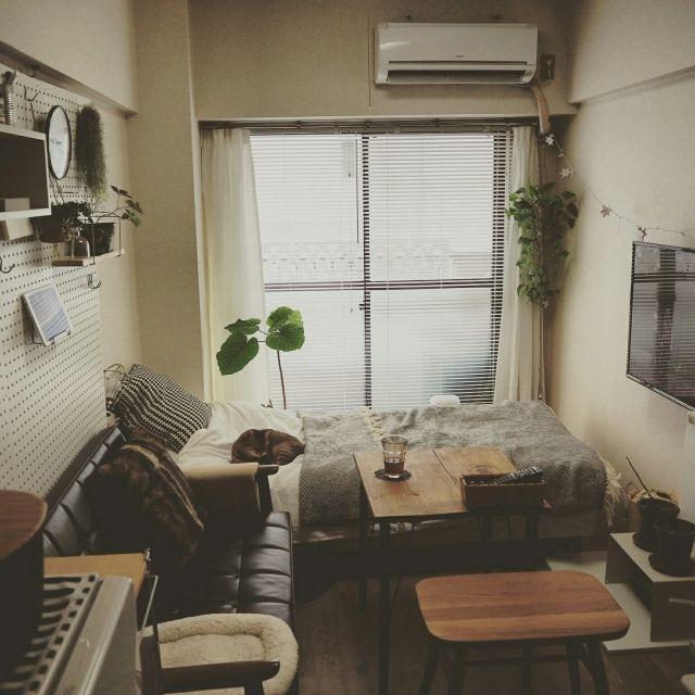 komugiさんの、部屋全体,一人暮らし,1K,賃貸,壁に付けられる家具,ポトス,有孔ボード,カフェテーブルDIY,整理収納アドバイザー,鉄脚テーブルDIY,ブライワックス ジャコビアン,カリモク60 Kチェア,1k 1人暮らし女性,ねこと暮らす。,縦長部屋,うんべらーた,かりもく60ソファ,のお部屋写真