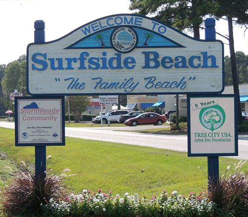 """Officially incorporated in 1964, the beautiful beach town of Surfside Beach SC, with serene beach vistas bordered by lovely sand dunes had an established moniker as a """"the family beach"""".
