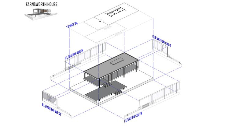 Seen on #QreativeHome #FarnsworthHouse #Diagram #Architecture #Archviz
