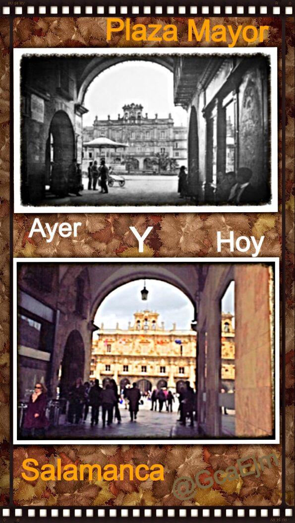 """La plaza Mayor de Salamanca, España, es un espacio urbano construido como plaza mayor castellana que con el tiempo se ha convertido en el centro de la vida social de la ciudad. Fue construida en el periodo que va desde el año 1729 al 1756, en estilo barroco. El diseño es del arquitecto Alberto Churriguera.  Definida por Miguel de Unamuno, que hacía su tertulia diaria en la terraza que tiene en la plaza el Café Novelty:[3]  """"Es un cuadrilátero. Irregular, pero asombrosamente armónico."""""""