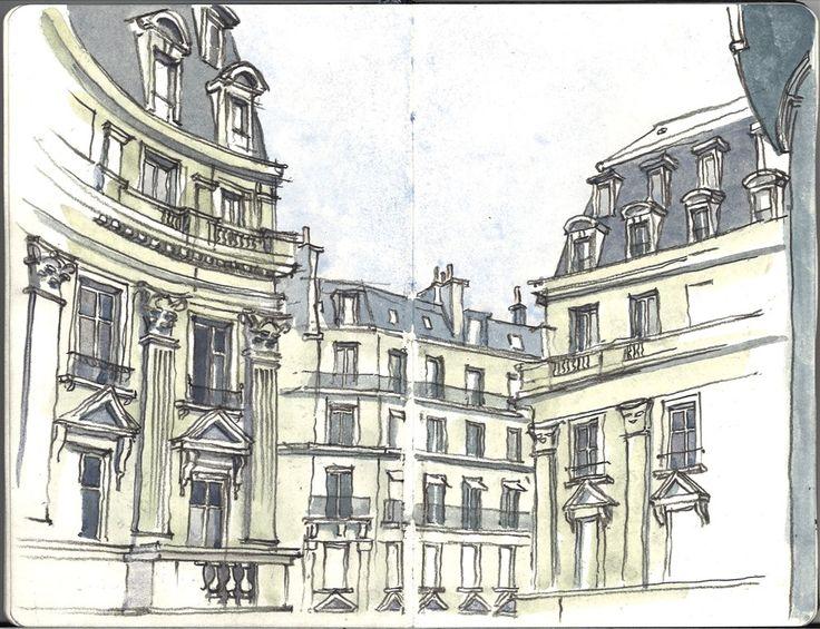 Dessin à l'aquarelle de Paris: Rue de Viarmes, rue du Louvre. 1er arrondissement