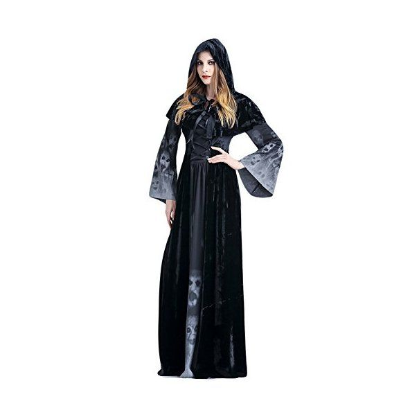 Costour Frauen Cosplay Satan Hexe Vampir Kostüm Halloween Party Schwarz:-Werbung-