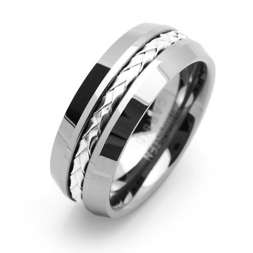 8mm Comfort Fit Tungsten Wedding Band Braided Silver Strand Inlaid Ring For Men Women