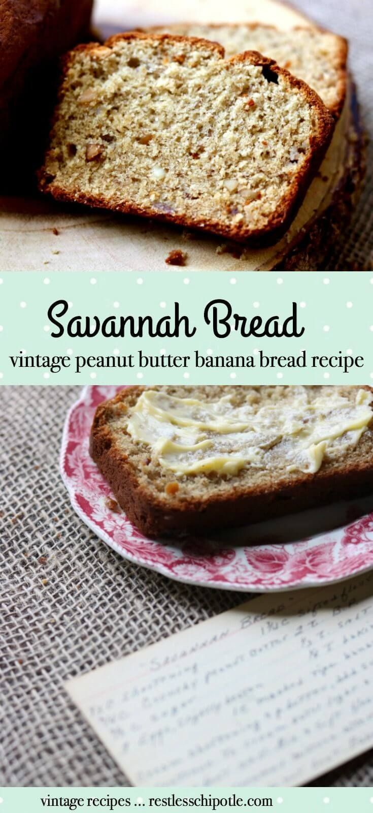 Vintage recipe for peanut butter banana bread is so good. It was called Savannah Bread at my house and this recipe is from the 1940s. RestlessChipotle.com via @Marye at Restless Chipotle