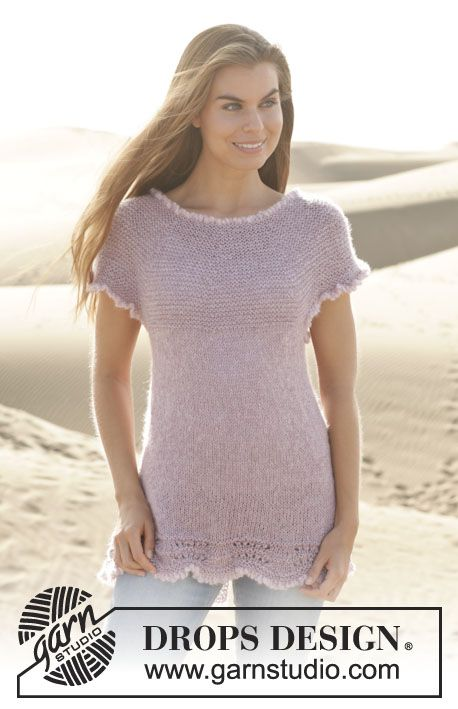 "Knitted DROPS top with wave pattern and round yoke in ""Cotton Viscose"" and ""Kid-Silk"". Size: S - XXXL. ~ DROPS Design"
