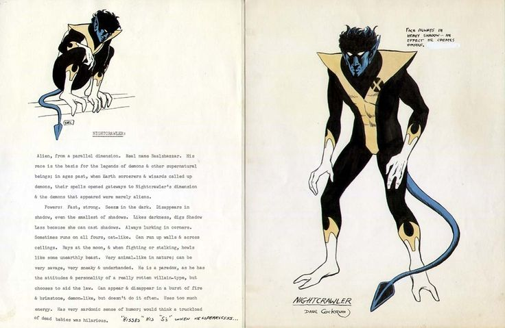 Here's Dave Cockrum's original notes and costume drawing for Nightcrawler. Dave had previously come up with the character earlier, and at one point proposed him as a new member of the Legion of Super-Heroes while he was working on that series at DC.    As you can see, almost nothing of what Dave proposed as the character's background remained intact when he became one of the X-Men.