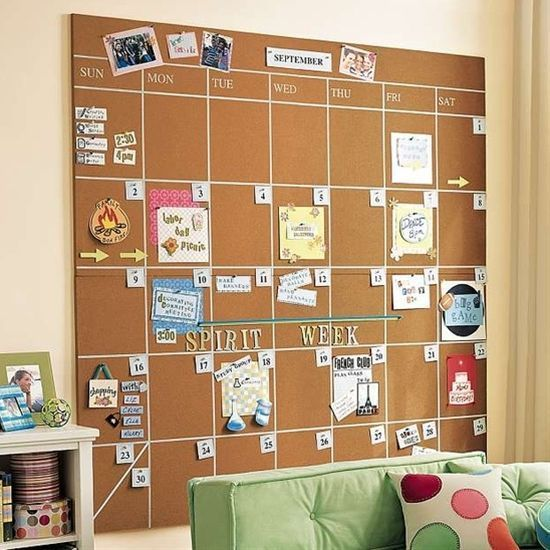 Make a giant corkboard calendar to keep track of assignments at a glance.