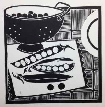 'Like peas in a pod' by jan brewerton Lino print in black ink