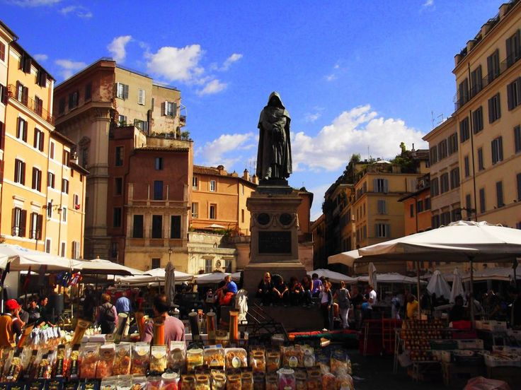 Campo de Fiori (field of flowers), a morning market, one of rome's beloved public spaces. what's seasonal, would be what you'd find at local restaurants