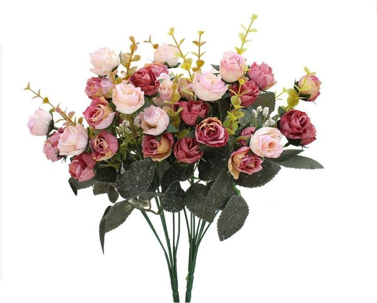 Flowers Bouquet Silk Artificial Rose Decor 7Branch 21Head Pack Of 2(Pink coffee)
