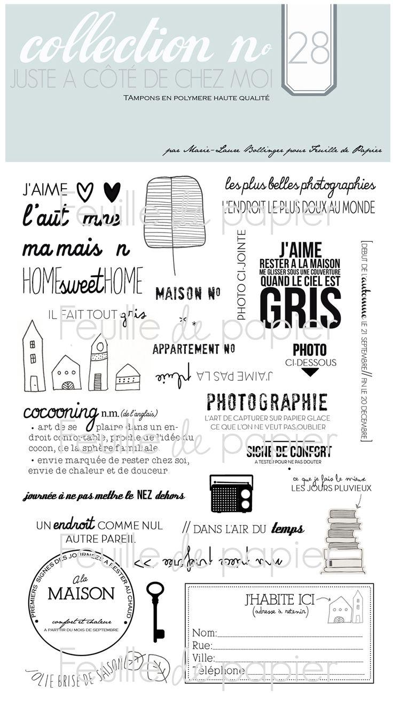 MATERIEL > Tampons > Marie-Laure Bollinger pour Feuille de papier > Collections N° 28 Juste à côté de chez moi - Feuille de papier - Kits en...