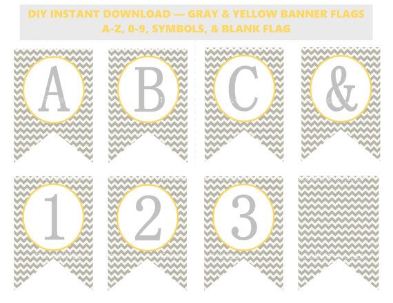 Yellow Gray Chevron Banner Chevron Baby Shower Banner
