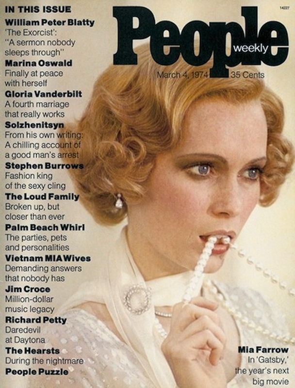 The FIRST People Magazine cover in 1974.: The Great Gatsby, 1974, Miafarrow, Covers Photo, Mia Farrow, People Magazines, Vintage Magazines, Magazines Covers, Vintage People